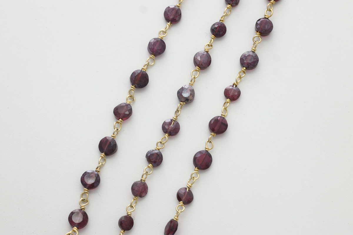 [CJ54-04] Gemstone chain (Mystic ganet), Gold plated 925 silver, Gemstones, Nickel free, Necklace making supplies, 1m