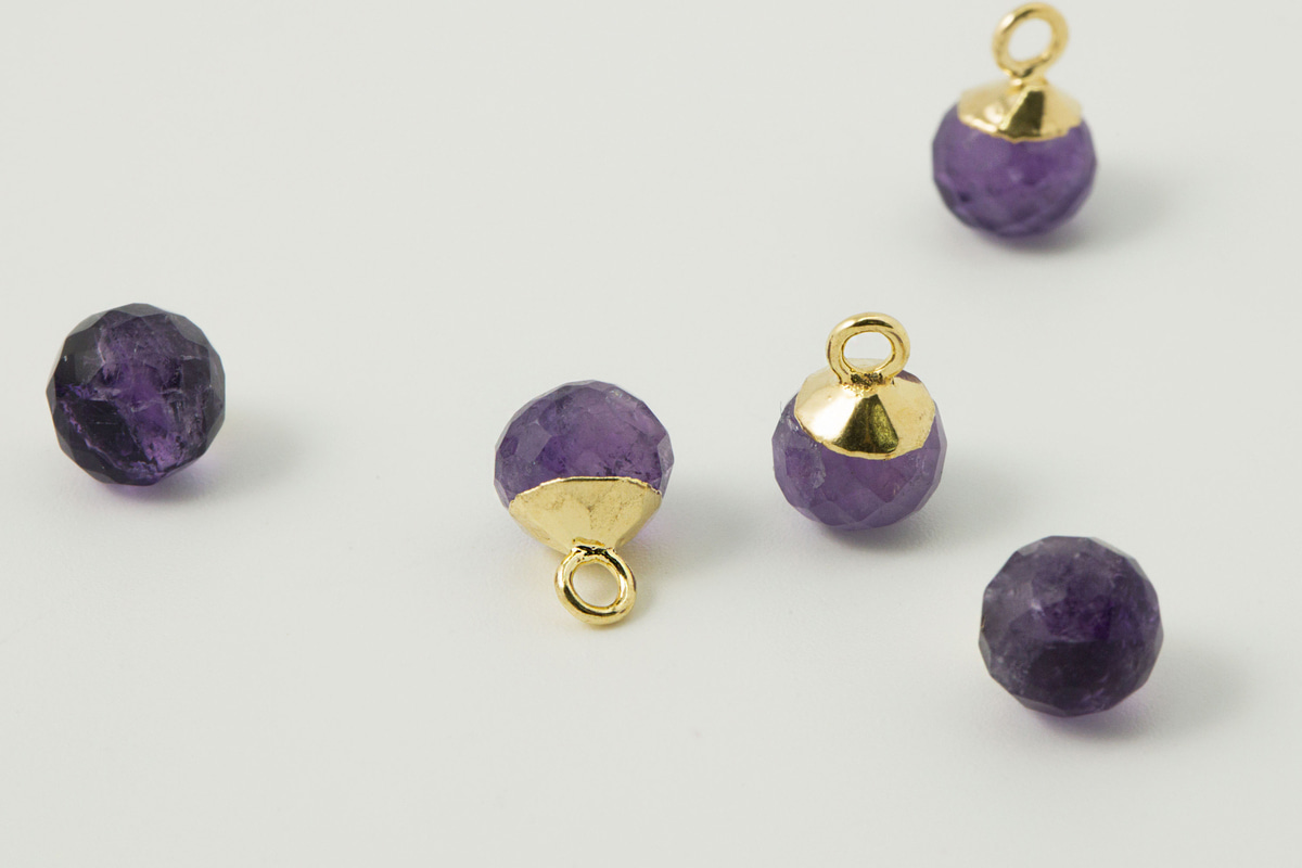 [N46-R4] Gemstone charm (Amethyst), Gold plated 925 silver & copper, Gemstone, Nickel free, Jewelry making supplies, 1 piece