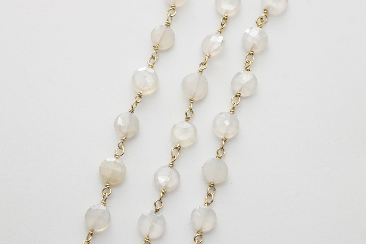[CJ54-06] Gemstone chain (Mystic white chalcedony), Gold plated 925 silver, Gemstones, Nickel free, Jewelry making supplies, 1m