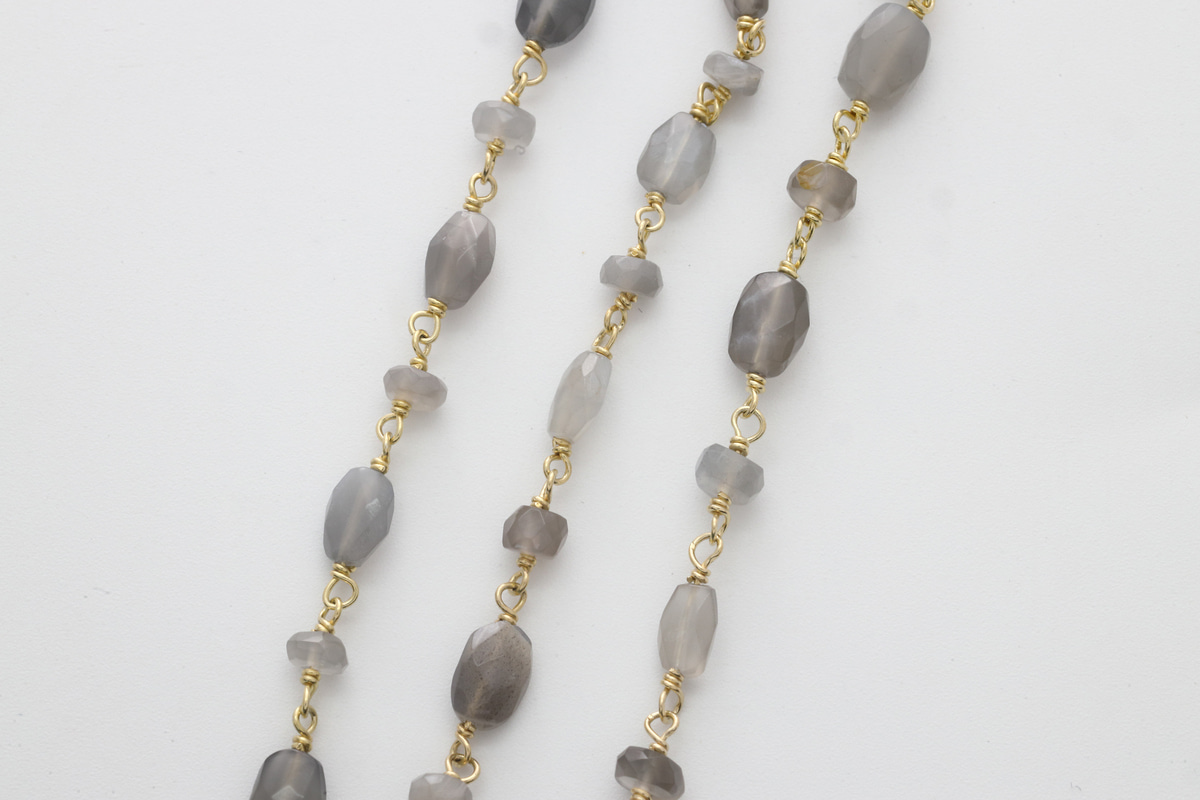 [CJ54-10] Gemstone chain (Gray moonstone - Oval & button), Gold plated 925 silver, Gemstones, Nickel free, Jewelry making supplies, 1m