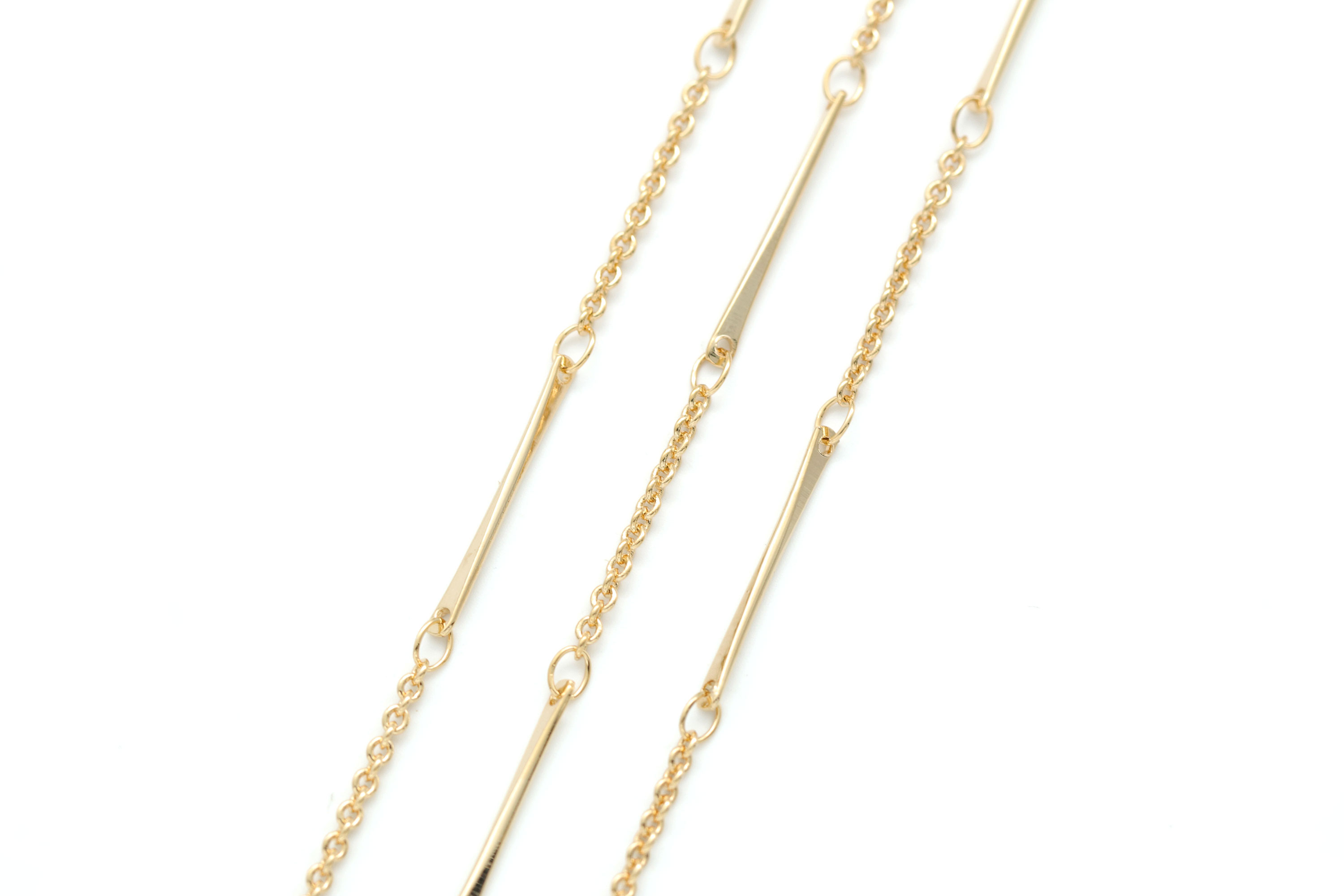 [CJ46-08]Stick Chain, 1m, Stick 21mm, 1mm thick, 16K gold plated brass, Nickel free, Stylish adjustment chain