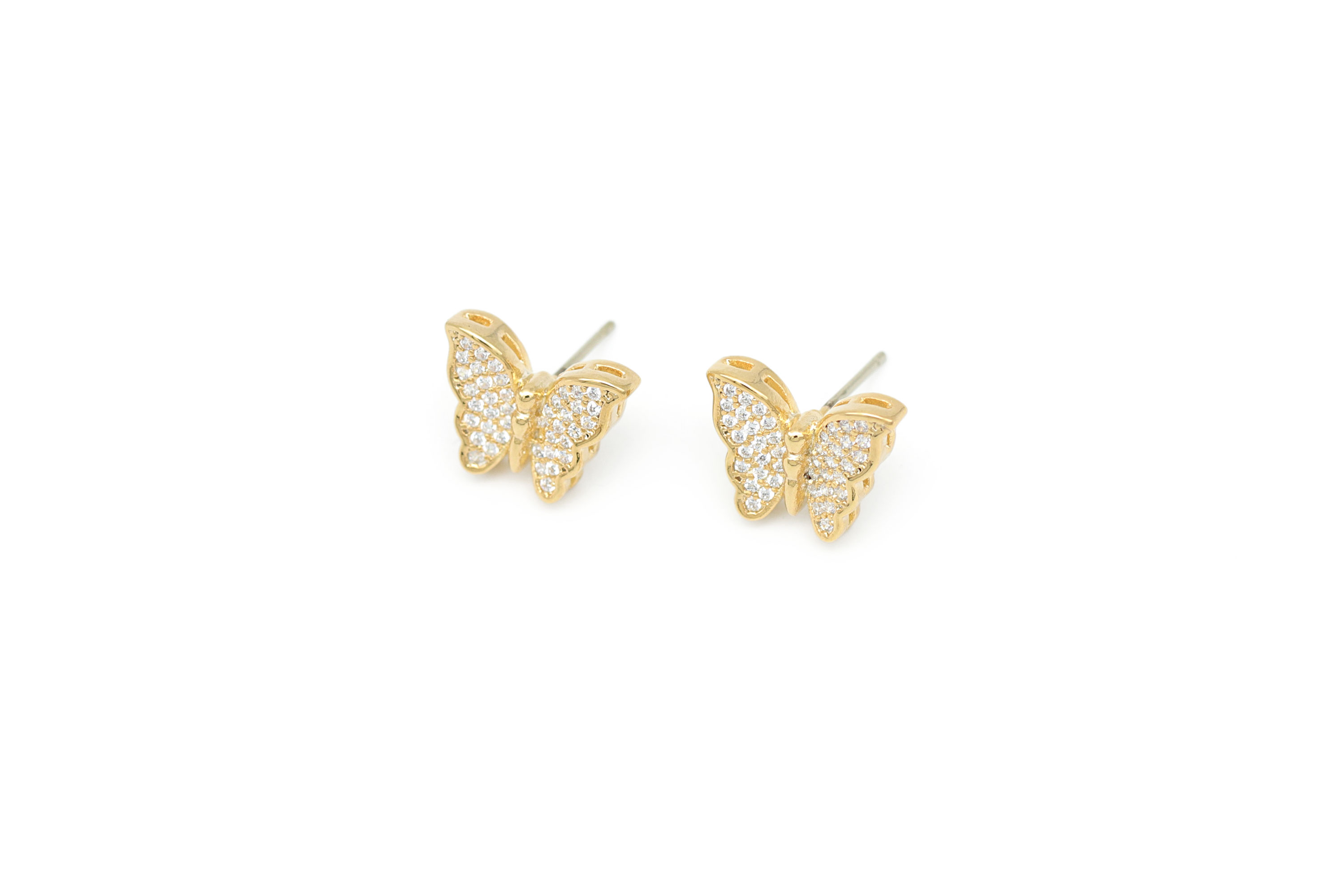 Cubic butterfly stud earrings, Q13-R8