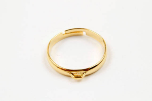[G31-P1]Ring Making Supplies, Nickel free, 10 pcs, 17x3mm, Adjustable finger ring w/ link, 16K gold plated brass, Finger Ring Making