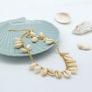 Cowrie shell chain necklace, SHN19-05