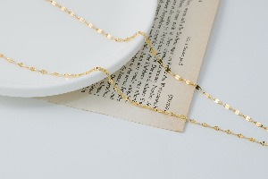 Double hammered chain necklace, N4203-G1