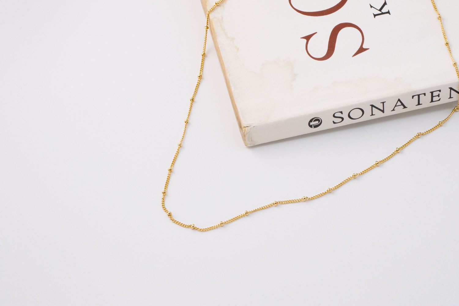 [N5113-G1] Ball cable chain necklace, 43cm, 16k gold plated red brass, Nickel free, Dainty necklace making, Pre-made chain, 1 piece