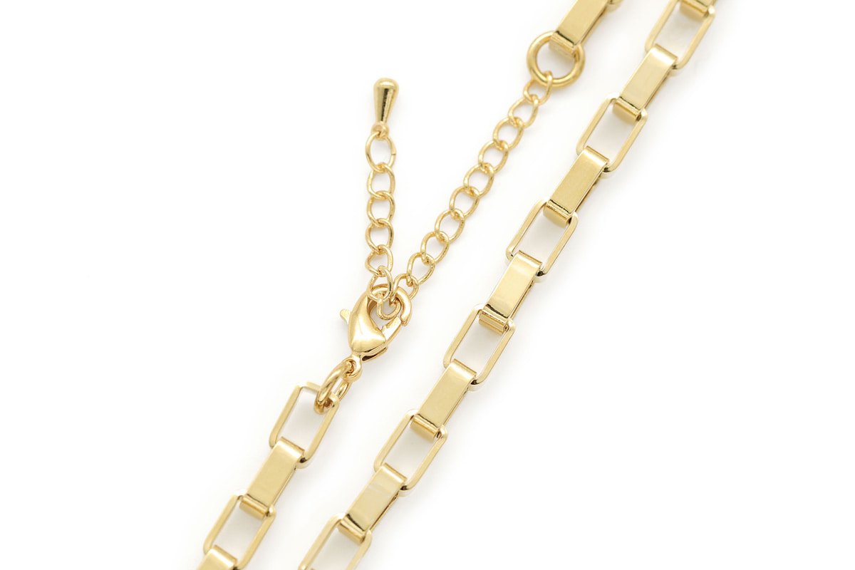 Bold rectangle link necklace for charm, N5006-G1