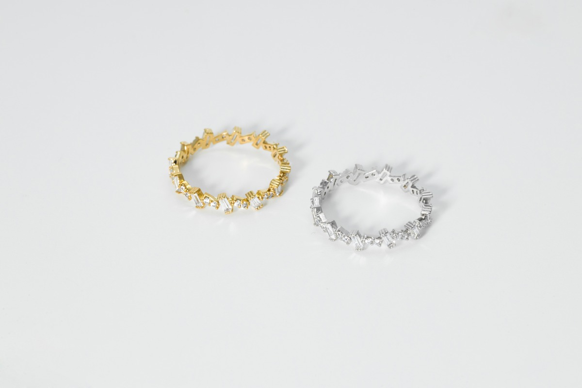 [RB20-07] Cubic ring, Brass, CZ, Nickel free, Handmade jewelry, Simple rings, Dainty ring, 1 piece per style
