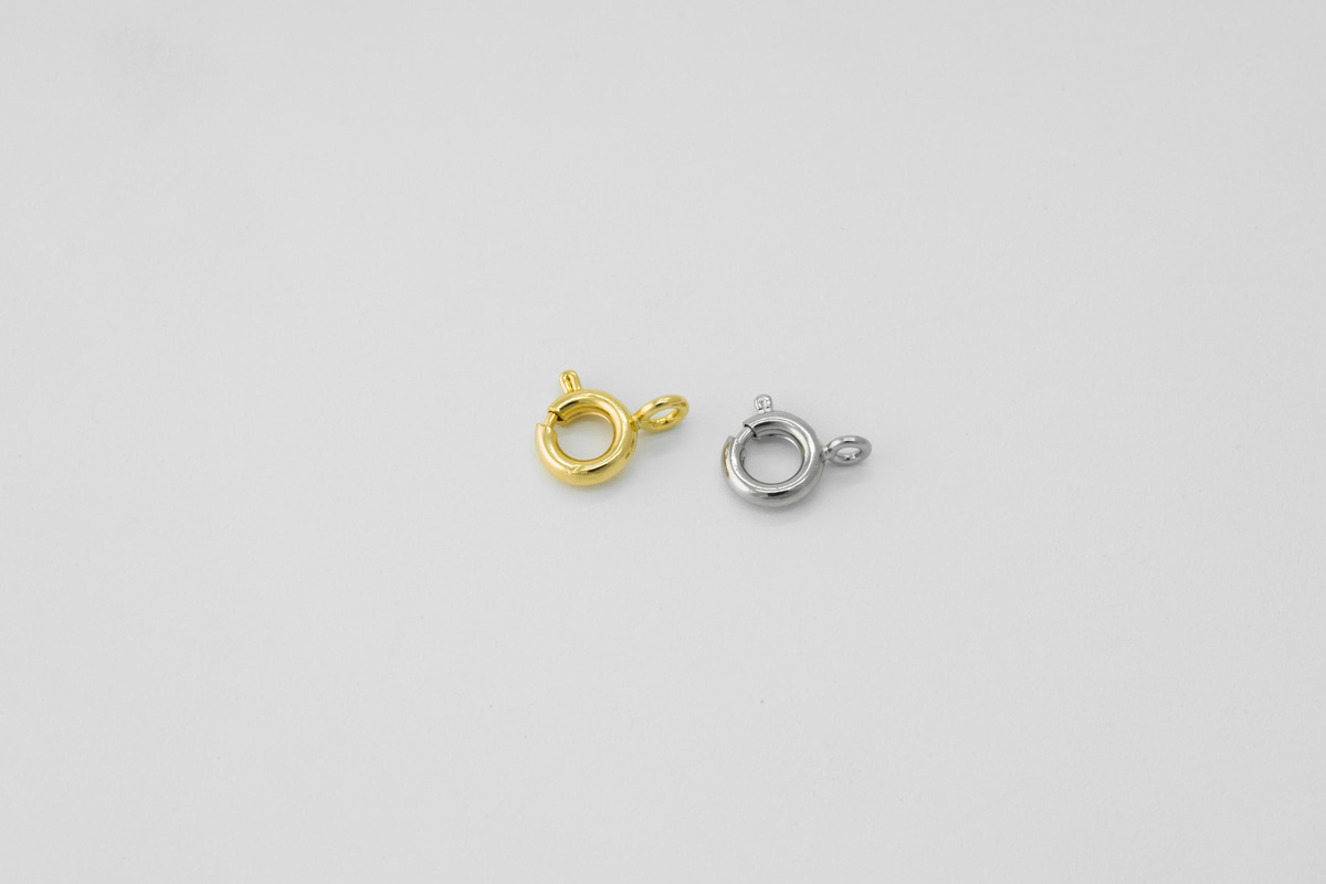 [S84-VC1] 6mm Spring clasp w/ close loop, Brass, Nickel free, Spring ring with loop, Jewelry findings, Necklace makings, 10 pcs