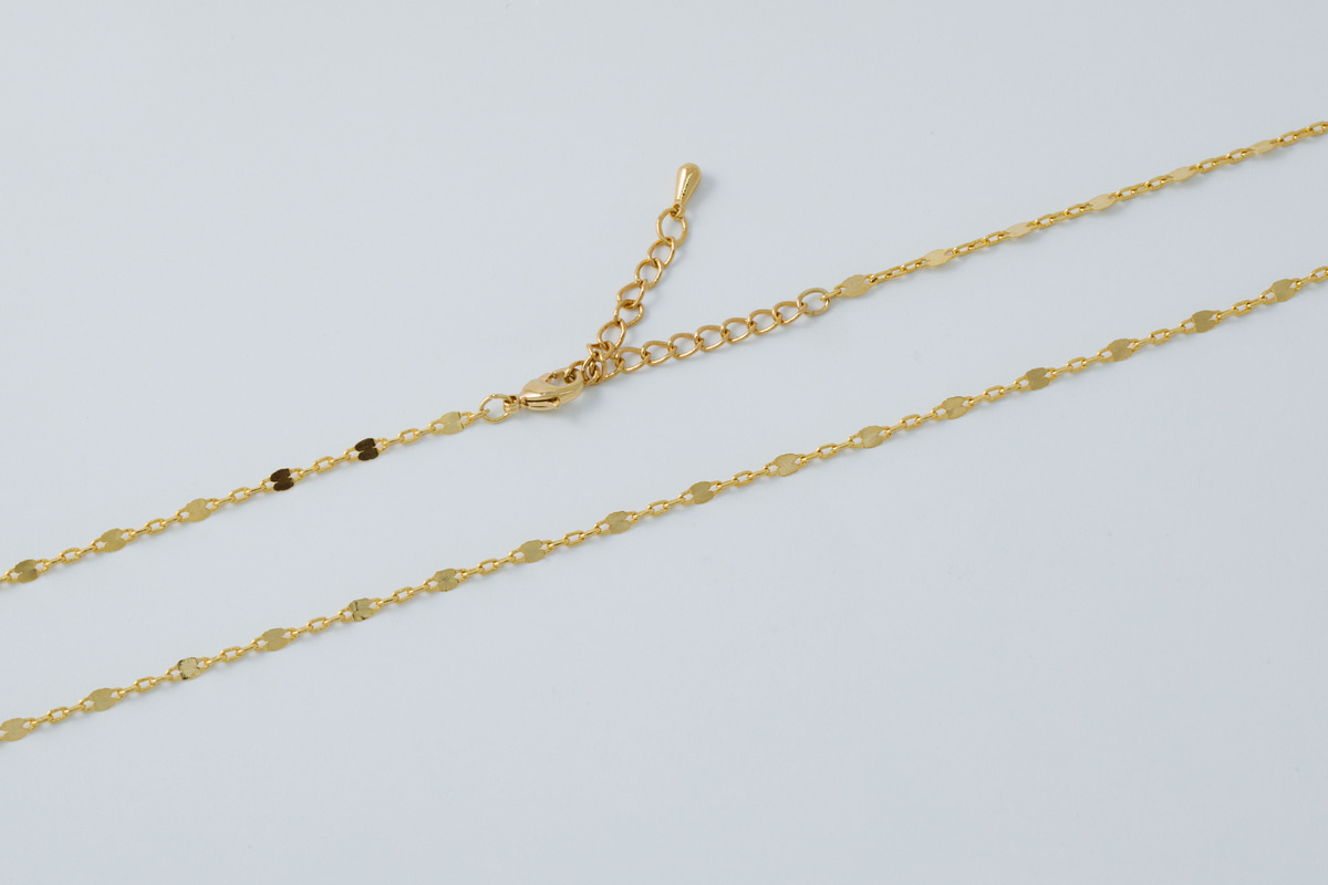 Hammered link chain necklace, N2307-G1