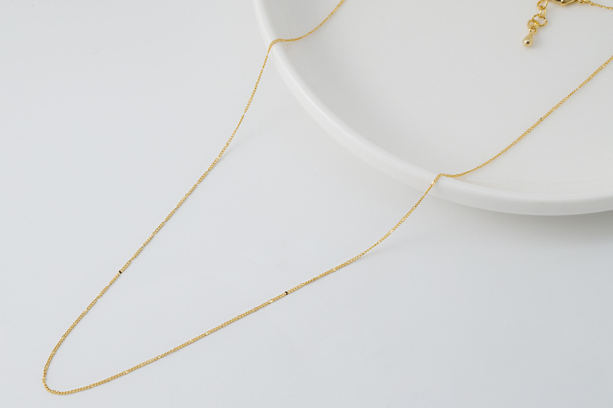 Thin curb chain necklace, N120ET-G1