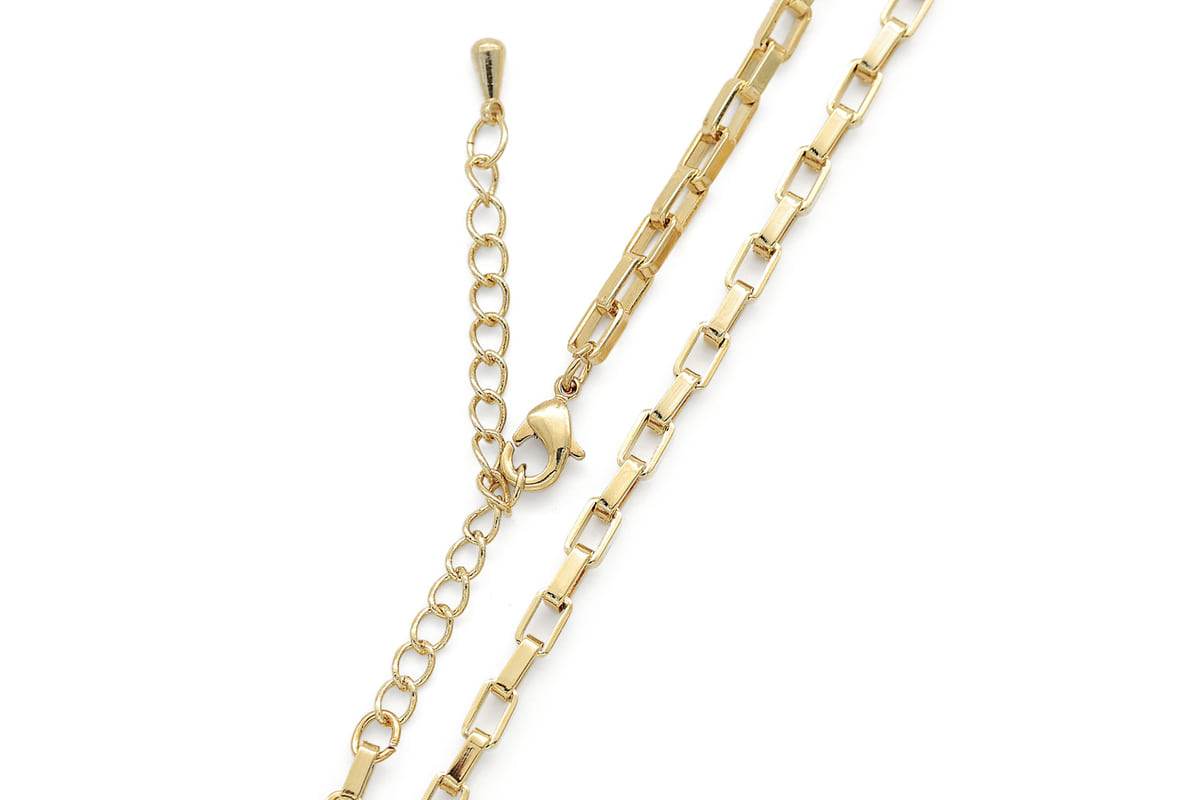 Bold rectangle link chain necklace for charm, N4708-G1