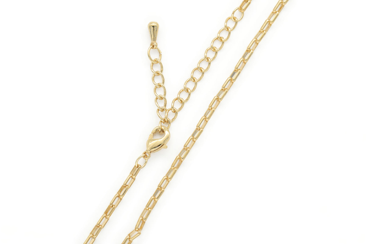 Tiny bold rectangle link chain necklace for charm, N4801-G1