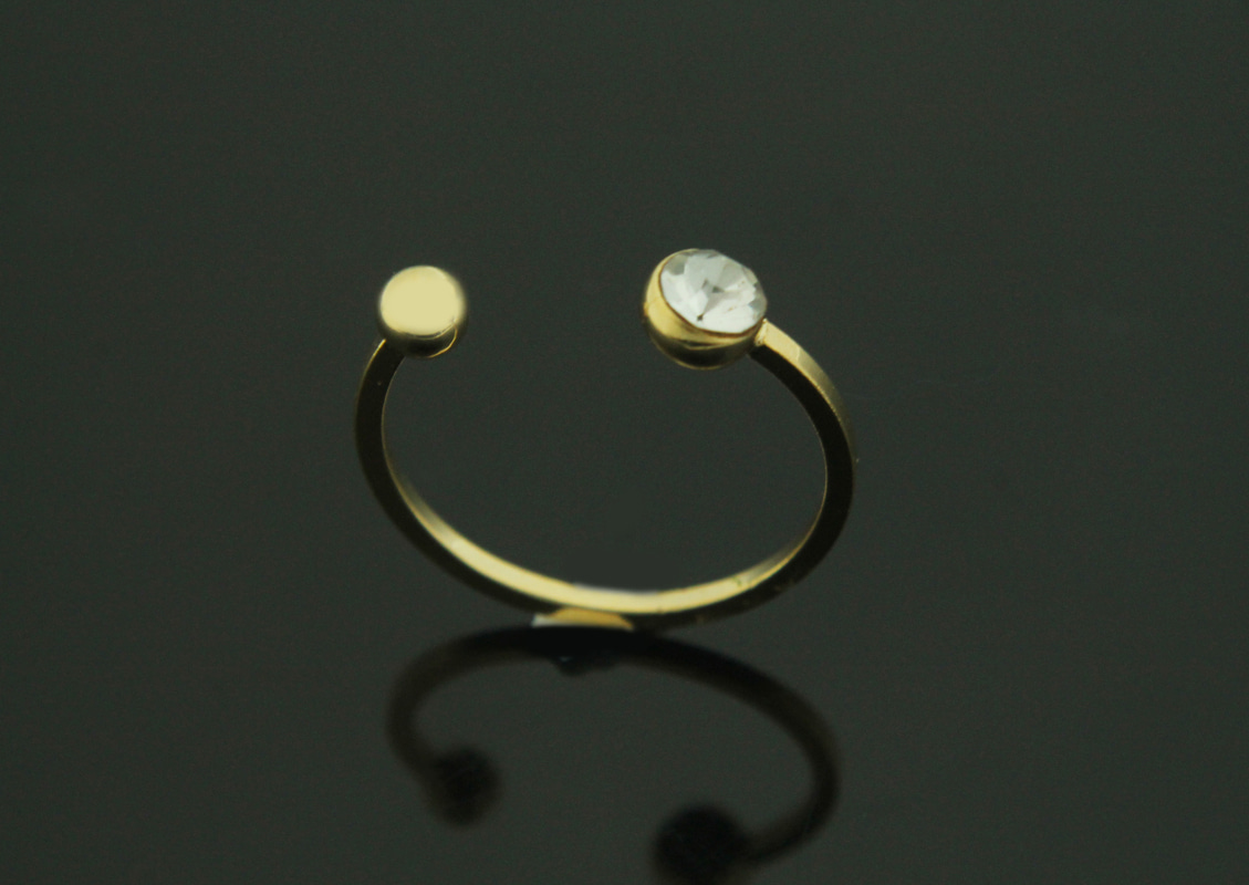 [S97-P2]Cubic Quarter Finger Ring, 1 piece, 16K gold plated brass, Nickel free, Cubic zirconia, Free size