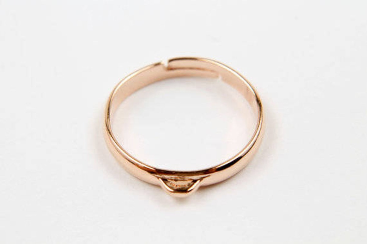[G31-P3]Ring Making, 10 pcs, Inner 17mm, Adjustable finger ring w/ link, Rose Gold Plated, Finger Ring Making Supplies