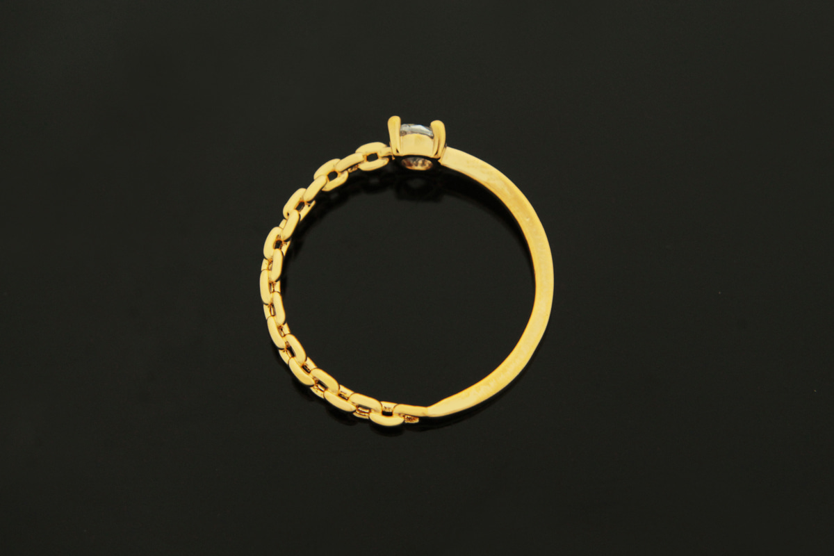 [T62-P4]Cubic & Chain Finger Ring, , 1 piece, Cubic zirconia, 16K gold plated brass, Nickel free, Inner 17mm, Outer 20mm