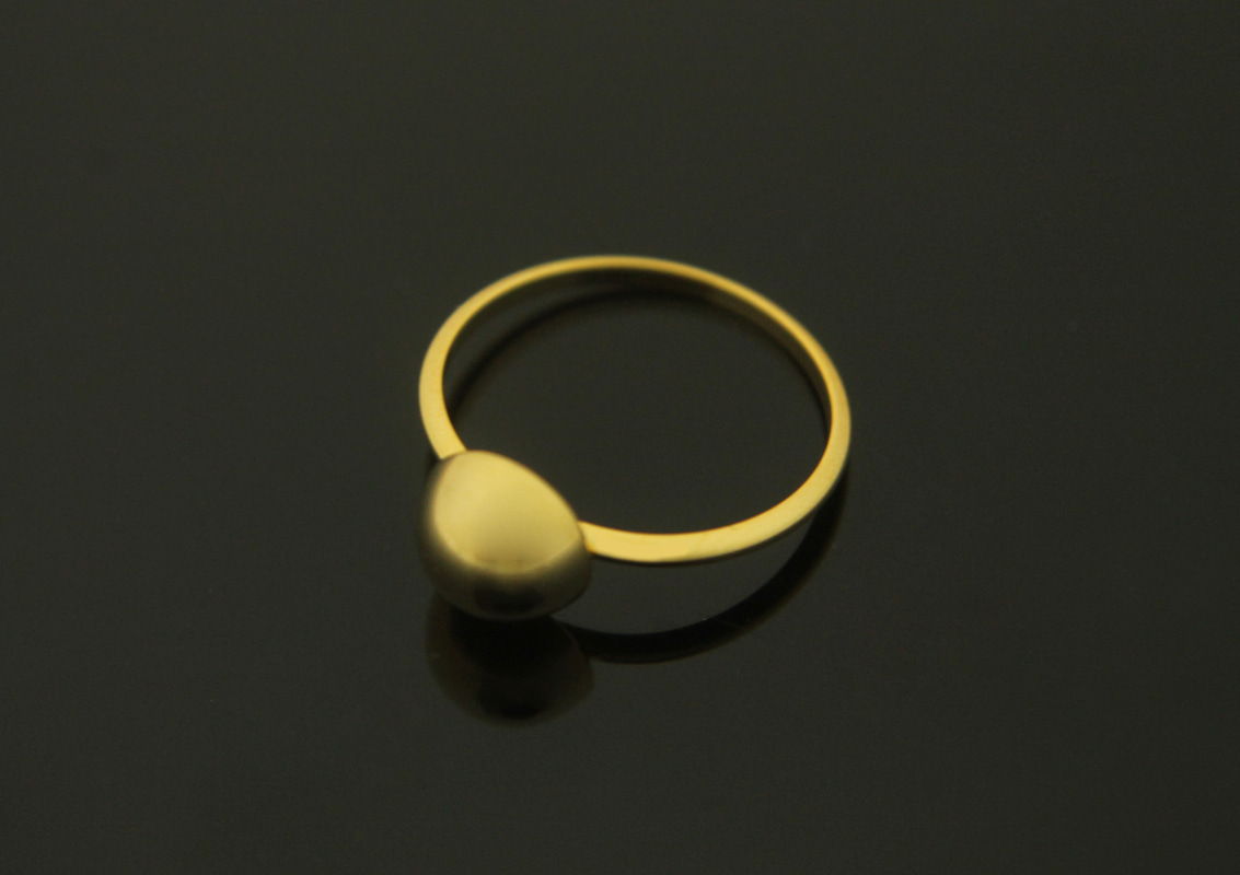 [T13-P1]Bulging half ball ring, , Nickel free, 1 piece, Size 6, Inner 16.4mm, 1.4mm thick, 16K gold plated brass, Finger rings