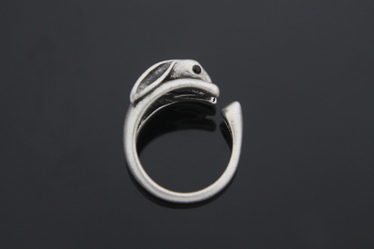 [T59-R3][Limited to 150 pcs] Special Price!! Antique Silver Rabbit Ring, 4 pcs, Free Size, Plated Tin Alloy