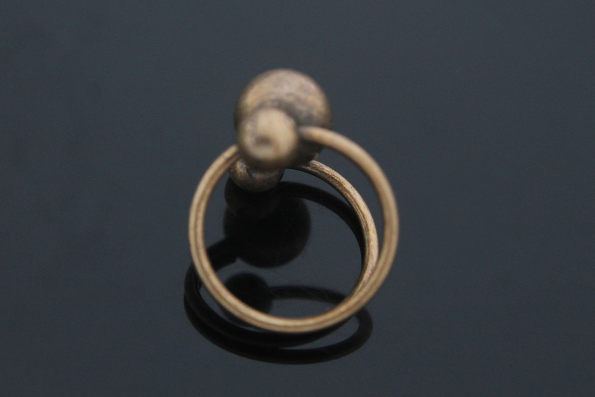 [T59-G4][Limited to 120 pcs] Special Price!! Antique Gold Three Balls Ring, 4 pcs, Free Size, Antique Plated Brass