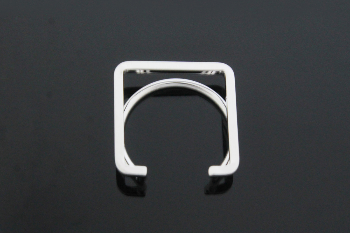 [T17-G2R]Geometric ring, Nickel free, 1 pcs, Geometric finger ring, Inner 17mm, Outer 20mm, Height 6mm, Original rhodium plated brass