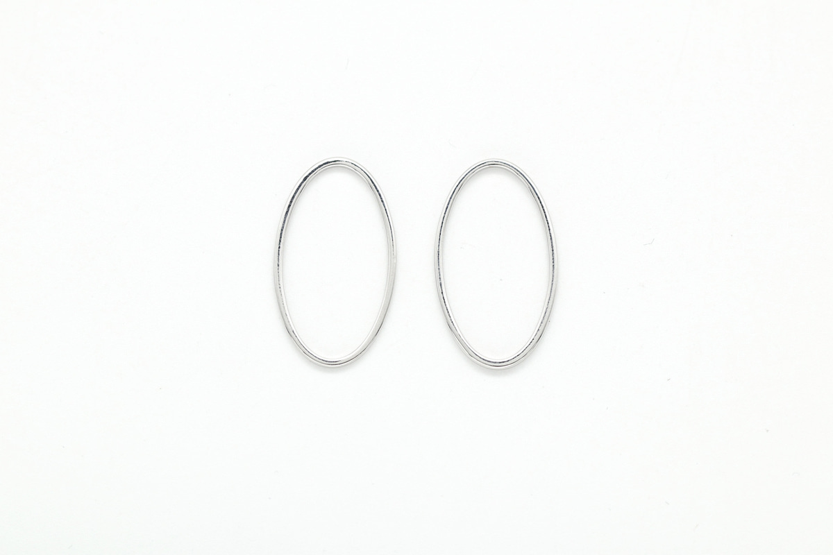 [G15-R1]Oval ring charm, 20 pcs, 24x13mm, 1x1mm, Original rhodium plated brass, Nickel free, Jewelry making ring, Ring connector