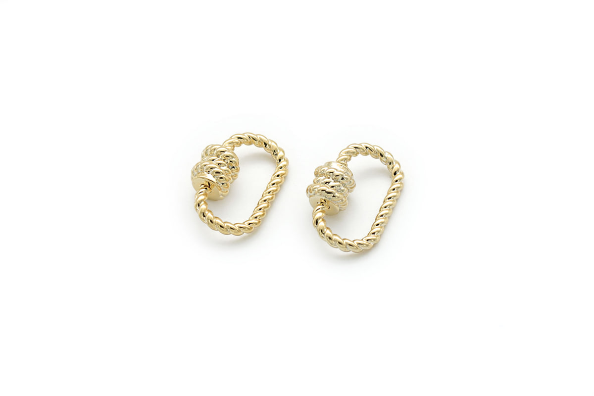 [Q13-G3]Rope screw clasp lock, 2 pcs, 20x13mm, 16K gold plated brass, Nickel free, Unique clasp, Clasp for necklace making, Screw clasp