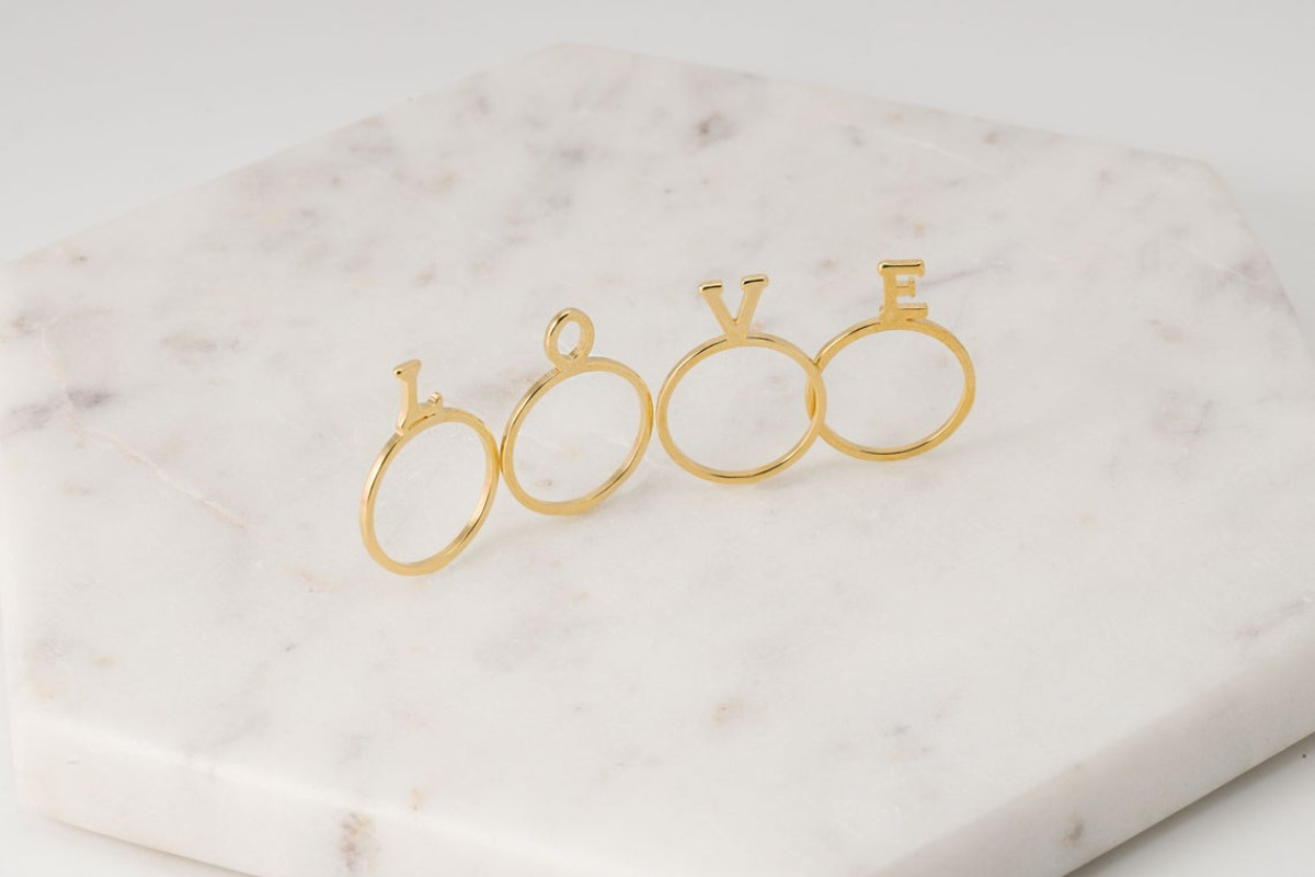 [S38-P5] LAST STOCK, LOVE finger rings, Brass, Nickel free, Dainty rings, Simple ring, Fashion jewelry, Handmade jewelry, 1 set (4 pcs)