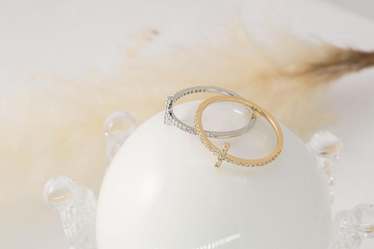 [RB20-16] Cubic cross ring, Brass, Cubic zirconia, Nickel free, Handmade jewelry, Dainty rings, CZ rings, Simple rings (Q3-R2, Q3-R2R)